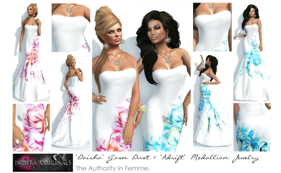 Indyra Originals Mesh: Daisha Gown Duet & Adrift Medallion Jewelry